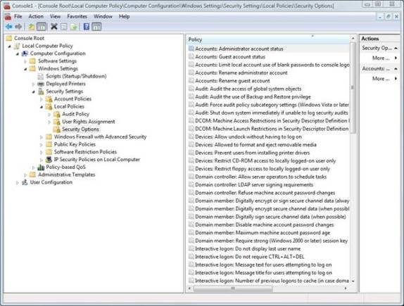 Установки group policy, расположенные в Computer Configuration / Windows Settings / Security Settings / Local Policies / Security Options