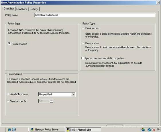 Рисунок A Установка типа политики (Policy Type) на Grant Access (разрешить доступ)