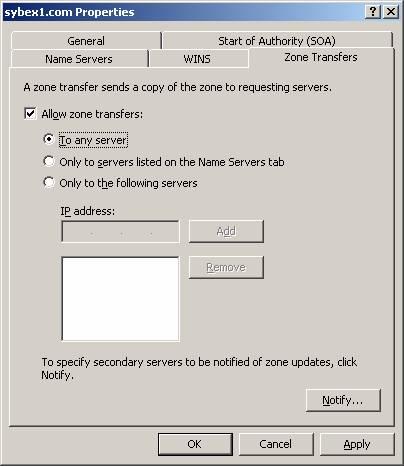 Интрефейс для зон передачи для Windows DNS