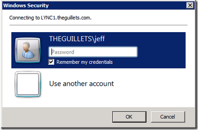 Lync Control Panel Credentials